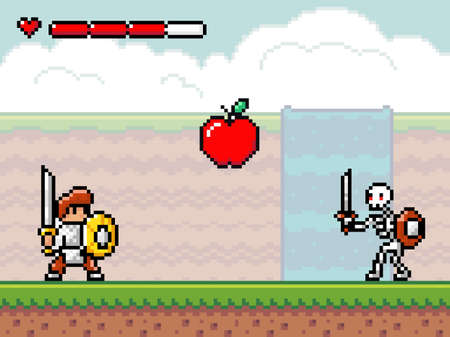 Pixel art style, characters in game arcade play vector illustration. Game scene with a knight with a sword and shield and a skeleton with weapons, retro gaming mode. Hero bravely fights with monster
