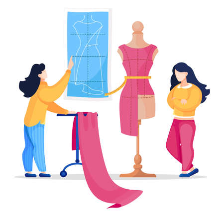 Vector flat illustration of two seamstress working in atelier sewing stylish dress. Creative designers look at model of future dress on mannequin. Sewing workshop. Cartoon characters isolated at white