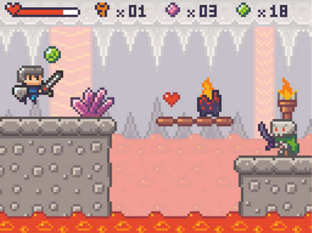 Pixel art character in game arcade play. Man with sharp sword and shield fighting against monster aliens, retro gaming mode. Pixelated game scene with concrete platform, lava river in underground cave 向量圖像