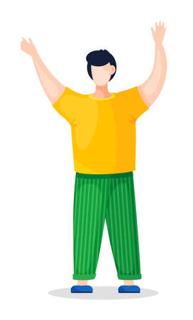 Flat vector illustration of young guy in yellow t-shirt and green striped pants, blue shoes. Guy holding hands up. Portrait of cartoon character in casual style. Young man isolated at white background