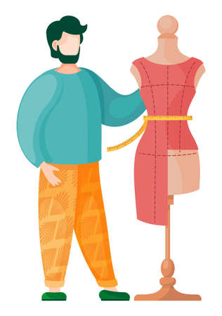 Sewing workshop, atelier, custom clothing. Dress on a mannequin with measuring tape and bearded man seamstress measuring the dress on the mannequin. Fashion designer flat vector illustration Stock Illustratie