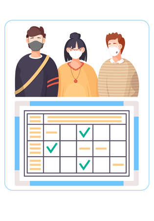 Information poster about the spread of the virus. Group of people wearing protective medical face masks and virus sign. Concept of coronavirus quarantine, pandemic, covid-19. Disease symptoms table