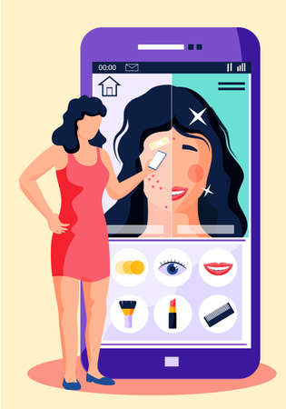 Phone screen with modern multimedia application. Portrait photo before and after makeup. Processing and preparation of photos for a social media. A girl stands with a smartphone in her hands