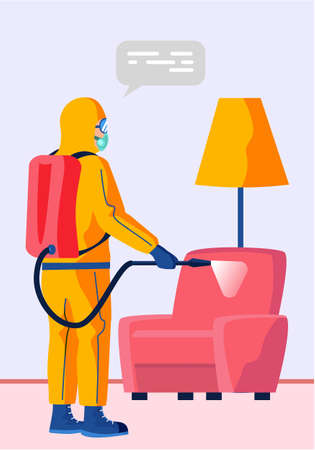 Man in a yellow protective suit disinfects the living room or office with a spray gun. Virus pandemic COVID-19. Prevention against Coronavirus disease, premises sanitization flat vector illustration