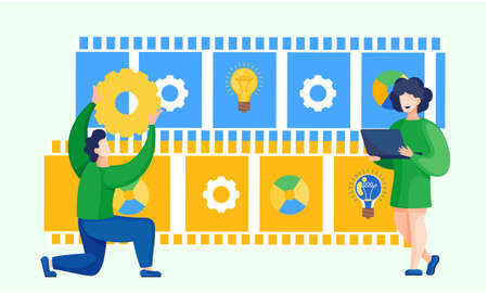 Businessman holding a gear concept of management and organization. Business creative intention flat vector. Man raised up gearwheel overhead. Great idea business solution innovate technology