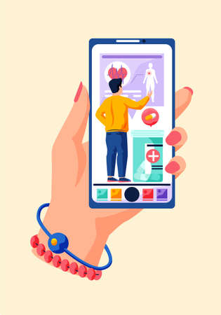 Doctor, professor explaining human cardiovacular system organs anatomy cartoon character. Cardiologist shows the work of the heart. Online medicine lesson. Screen with image of container with pills