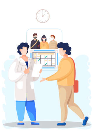 Patient came to medical clinic for consultation with doctor. Medical treatment and healthcare poster, modern clinical analysis and treatment, diagnostic tests. Clinic appointment meeting with doctor Ilustração