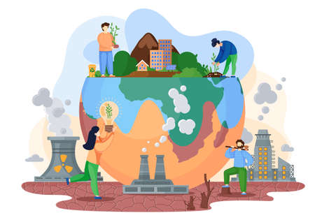 Planet with green trees and bushes surrounded by a lifeless land with cracks, environmental pollution theme with ax man cuts trees to build cities, factories pollute the air with smoke flat vector 矢量图像