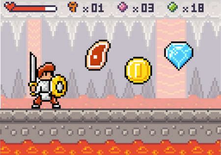 Pixel game interface. 80s graphic. Hero or personage, character of mobile 8 bit game, videogame. Pixelated knight with sword and shield. Meat, health status, coin, diamond bonuses. Underground cave