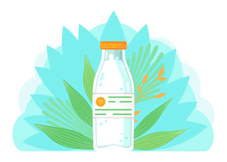 Glass, plastic bottle with milk. High quality label at label. Organic natural milk product at green leaves background. Nut milk, soy milk, almond milk. Vegan milk concept, lactose free. Isolated icon