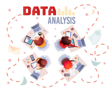 Concepts data analysis teamwork. A team of analysts holds a meeting and develops a marketing strategy based on an analysis of the financial performance, diagrams of the enterprise. Vector flat design