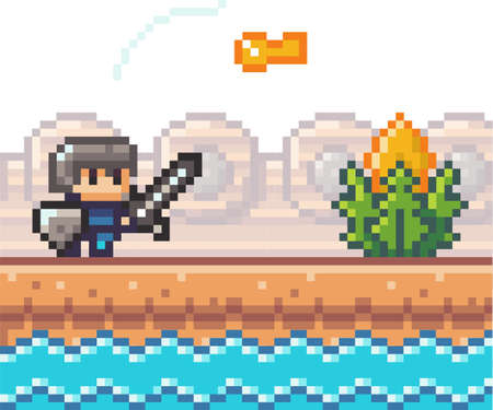 Pixel game interface, element. 80s graphic. Hero or personage of mobile 8 bit game, videogame. Pixalated knight standing near water in front of key. Award or bonus. Adventure game, 2d texture