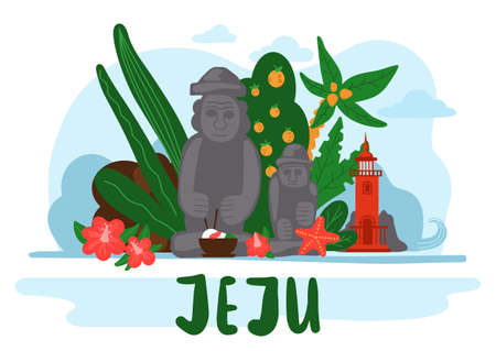 Banner with image of the main attractions of the south korean island Jeju. Mountaine hallasan with waterfalls, red lighthouse, stone figures in Stone park, tropical plants in botanical garden