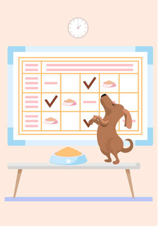 Feeding the pet on a timetable. The puppy jumps for food. The animal stands on its hind legs and looks up next to the bowl. Little cute dog character wants to eat. Check marks in the schedule