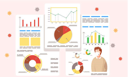 Coronavirus statistics. Prevention covid-19. Lowers the level of disease. Stop the virus. Vector illustration flat design a man in protective fase mask. diagrams and graphs with descriptions