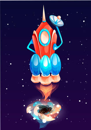 A red-blue rocket with three engines flies into space and blows smoke. Fire at the bottom of the aircraft. Travel across the galaxy and the universe. A rocket flies out of black hole into outer space