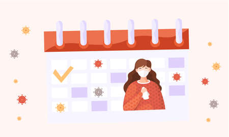 Calendar with an image of a check mark, a picture of a woman in medical face mask holding a napkin. Appearance of the calendar during an epidemic and quarantine. Preventing the spread of a disease
