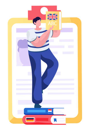 Learning foreign languages. A male student standing on the stack of books holding dictionary. Man studying at a language school, modern technologies of online learning from home. Freelance translator 向量圖像