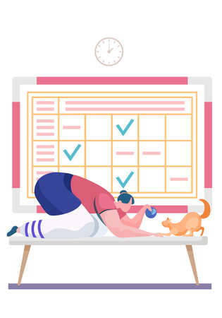 Female character playing with cat. Pet owner spending time with playful kitten. Woman showing ball of threads to kitty. Loving girl having fun with animal. Schedule with check marks on the background
