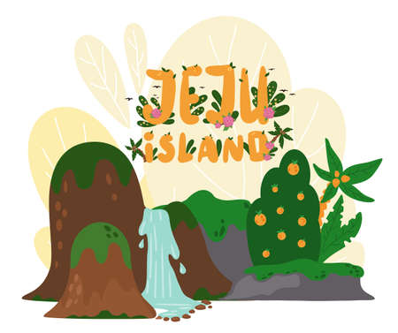 Banner with image of the main attractions of the south korean island Jeju and the inscription. Mountaine hallasan, waterfalls. Travel to South korea. Welcome to Jeju island. Vacation in Asia