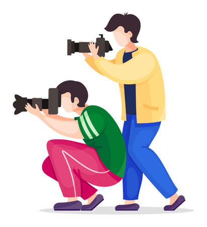 Set of vector cartoon characters isolated at white. Photographers or paparazzi taking photo, shooting with reflex or digital camera, side view. Photo journalists with professional equipment