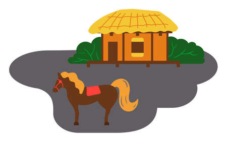 Asian village old house vector art and illustration. Thatched-roof rural house near the horse. Traditional house in a Korean people settlement. Simple construction from natural wooden materials