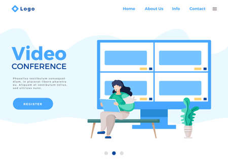 Landing page of modern website. Woman holding digital tablet in hands. Video conference at computer, online conversation with video. Computer screen shared at for windows, group online conference