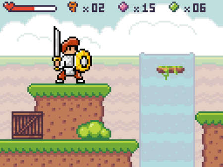 Pixel game interface. Outdoors, waterfall at background. Knight wear armor standing near abyss, unstable platform. Way through deep. Life scale, keys, green pink bombs, balls. 8-bit mobile game of 80s