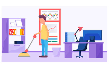 Businessman pushing lever arm and making mechanism, working in office with table and computer. Business concept illustration. Launch and implementation of a new business idea. Management, success idea