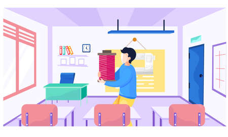 A male teacher explains new topic to seamstresses. Materials science lesson school. Image of sewing machine on the background. A man carries pink threads in his hands and shows it to students Ilustração