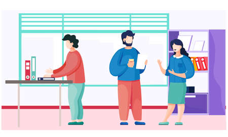 People dressed in casual clothes are sitting at the table with laptop and talking. Office workers discussing matters. Business meeting and consideration of working issues. Friendly team work Stock Illustratie