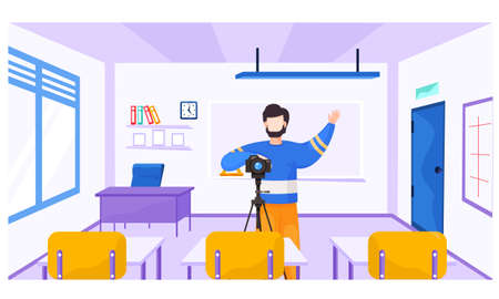 Photographer with a camera takes pictures of pupils. Lesson in photographic art. Guy with a camera on a tripod raises left his right hand. Cameraman asks the students to ger ready for shooting Illusztráció