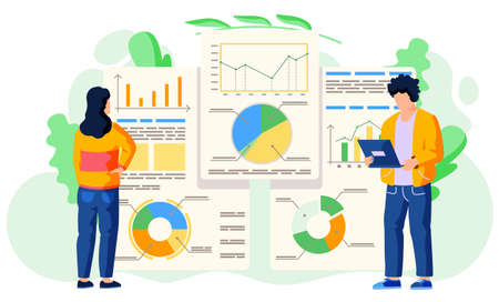 Teamwork concept. Vector illustration joint work in the company. Workers communicate, solve business development issues, collaboration and discussion graphical business report with charts and graphs