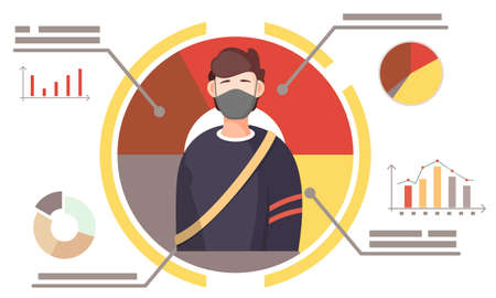 Masked man on poster with dynamics of the spread of the virus and text. Picture of a guy during the quarantine. Preventing the spread of a disease. Quarantine conditions. Prevention of covid-19
