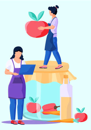 Cook healthy food at home. Cute girl cooking homemade meal. Young woman watching culinary video blog or master class on laptop. A girl holds an apple in her hands. Jar with fruit and vegetables Illustration