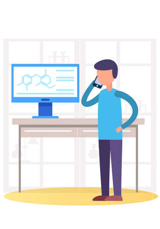 The man controls the work in the laboratory. The guy talking on the smartphone. Scientific research. Male director supervises the implementation of research work in a scientific lab. Business office