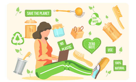 A girl with a laptop sits and works against the background of pictures and inscriptions. Zero waste. Use of natural. Glass jar. Bath accessories. Save the planet concept. No plastic. Recycling Иллюстрация