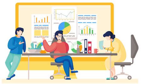 Teamwork concept. Illustration joint work in the company. Office workers communicate, solve business development issues, collaboration and discussion graphical business report with charts and graphs 向量圖像