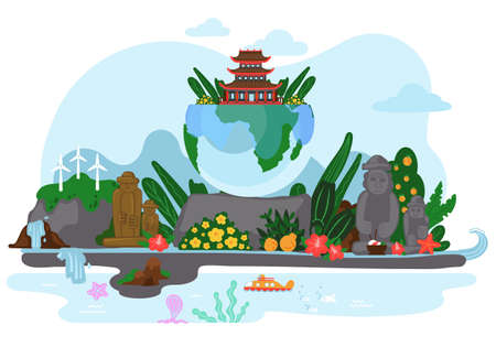 Asian landscape with orange tree, waterfall, mountains and stone figures, tropical flowers on the bushes. Globe with plants and house with a roof with raised corners on the top. Beautiful pure nature