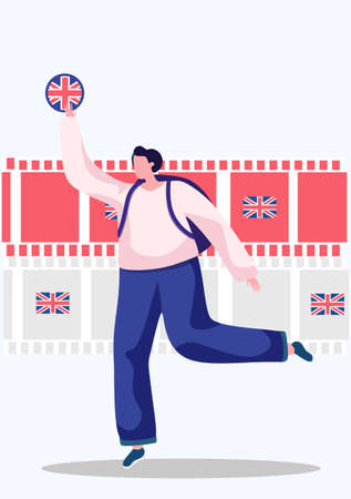English language courses. Vector illustration with a woman holding Flag of the Great Britain and running forward. Perfect for network advertising or language school. Online education, speaking club