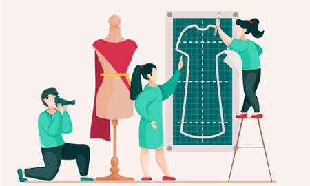 Seamstresses are working on a model of a new dress. Guy with a camera takes pictures of designers. Photo shooting of making clothes. Custom tailoring. Women posing next to a mannequin. Sewing to order