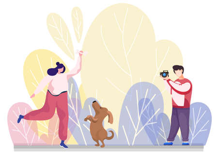 The photographer takes a picture of happy young woman jumping and playing with a cute puppy outdoors. Flat style vector funny game girl with pet illustration, dog and mistresses sunny day in the park