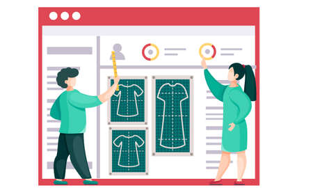 Team explains a plan for sewing clothes to the seamstresses. Professionals show the principles of taking measurements for different types of clothes. Patters of dresses. Personal details of customers