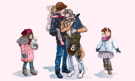 Parents and their kids walking in the winter, cartoon style. Mom and Dad laugh while holding children in their arms. Relatives have fun together. Happy family on the street in winter. Perfect family 矢量图像