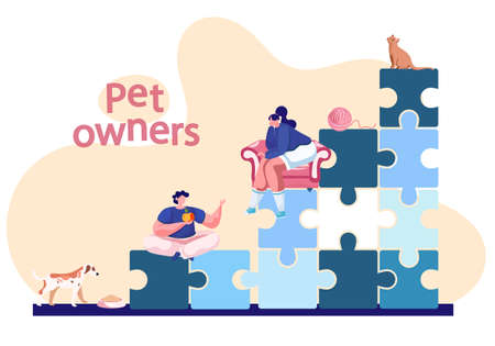 Pet owners poster with lettering. A man sits on a pyramid of puzzles and talks to a woman in a chair next to a cat and a dog. Happy young family with domestic animals cheerful puppy and kitten