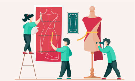 People hold a red cloth and put it on a mannequin to create a dress. Seamstresses are working on a model of a new dress. Guy with a camera takes pictures of designers. Photo shooting of making clothes