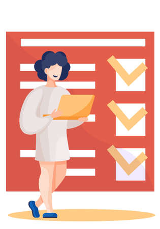 Medical doctor holding laptop standing near check up report. Vector document form health check with marks. Health insurance and care concept. Woman in white coat, nurse with patient test results