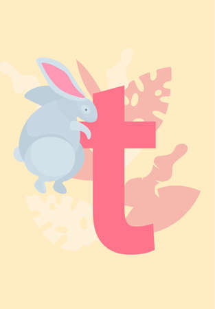 White cartoon rabbit sitting on the letter of the english alphabet vector in pastel colours with different leaves. Pet owners cute banner with a hare. Love for pets, positivity domestic animals