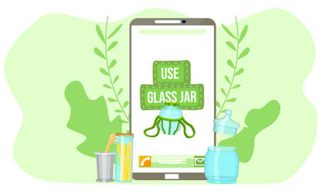 Mobile phone screen with the image of a closed glass jar and green lettering. Glass household items and kitchen utensils on green with leaves background. Production without harm to the environment