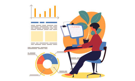 Businesswoman makes a schedule or prepares an annual report with statistical charts and text. The woman sitting at a table, working, looking at the monitor with a calendar image. Working day